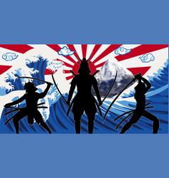 silhouette japan samurai with wave rising sun flag vector image
