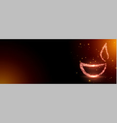 Sparkling diwali diya banner with text space vector