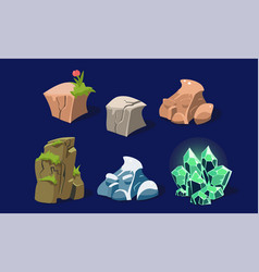 stones and rocks set user interface assets for vector image