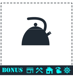 Teapot kettle icon flat vector