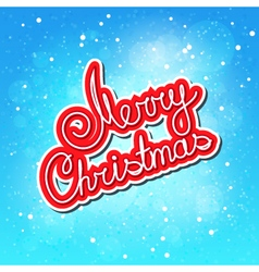 Text Merry Christmas on Blue Winter Background vector image