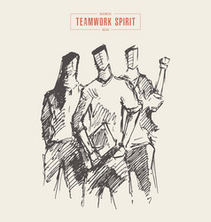 three people spirit teamwork partnership a vector image