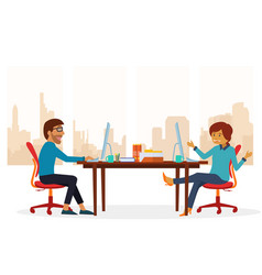 two people are discussing at the office vector image