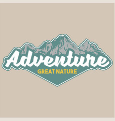 Vintage badge with great snow-capped mountains vector