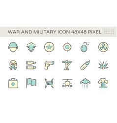war and military icon set design 48x48 pixel vector image