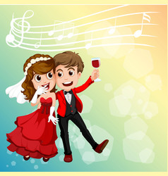 Wedding couple celebrating with music notes in vector
