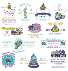 wedding vintage invitation collection - dessert an vector image
