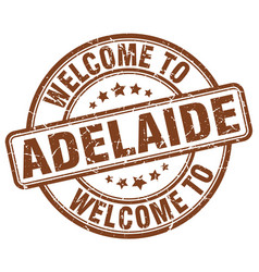 Welcome to adelaide brown round vintage stamp vector