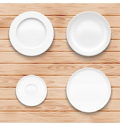 White plate set on wooden background Kitchen vector image
