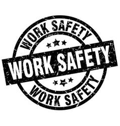 Work safety round grunge black stamp vector
