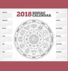 zodiac circle 2018 year calendar poster vector image
