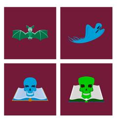 assembly flat bat ghost book skull vector image