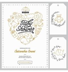 Baby shower invitation templates set Hand drawn vector image