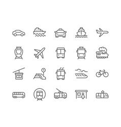 Line Public Transport Icons vector image