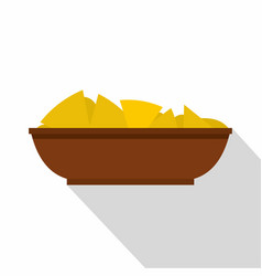 Mexican nachos in brown bowl icon flat style vector