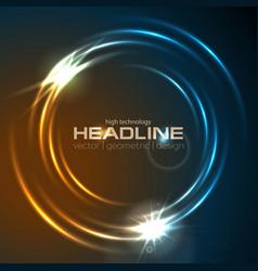 shiny glowing neon circle swirl abstract vector image vector image