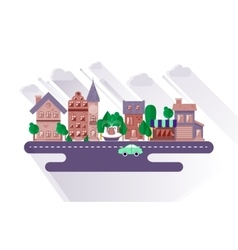 Town streets in a flat design vector image vector image