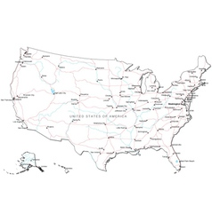 USA Black and White Map vector image vector image