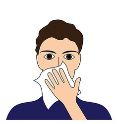 Cover your cough sick ill fever flu cold sneeze vo vector