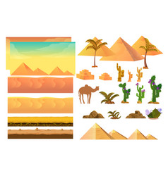 desert seamless background elements cartoon vector image