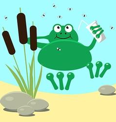 Frog resting swamp reeds and midge vector