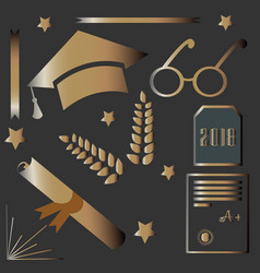 graduation package rich gold design golden icons vector image vector image