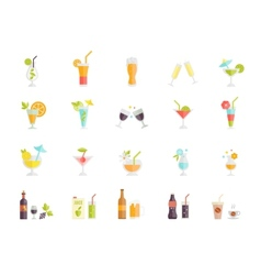 icons of cocktails and drinks vector image vector image