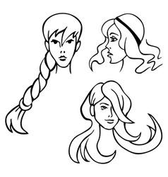 women hairstyles vector image vector image