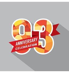 93rd Years Anniversary Celebration Design vector image