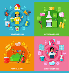 cleaning square compositions set vector image vector image