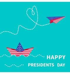 Presidents Day background Paper boat and vector image
