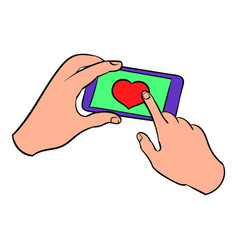 smartphone in hands with heart on the screen icon vector image