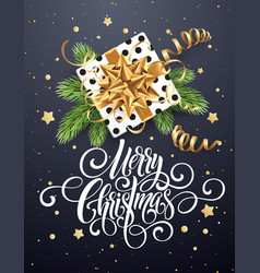 merry christmas handwriting script lettering vector image vector image