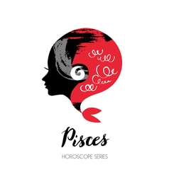 Pisces zodiac sign Beautiful girl silhouette vector image vector image