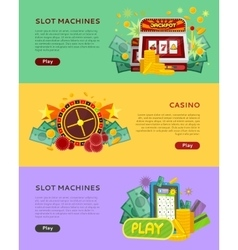 Slot Machines Casino Banners Online Play Concept vector image