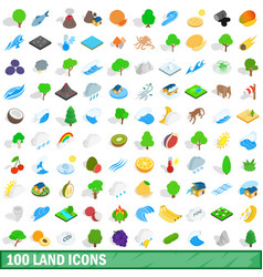 100 land icons set isometric 3d style vector