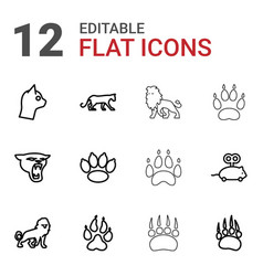 12 cat icons vector image
