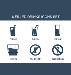 6 drinks icons vector