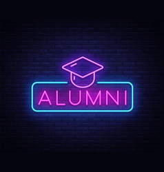 Alumni neon sign graduation neon symbol vector