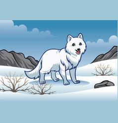 arctic fox in the snowy winter vector image
