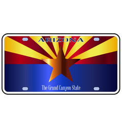 Arizona state license plate flag vector