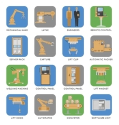 Automated assembly square icon set vector