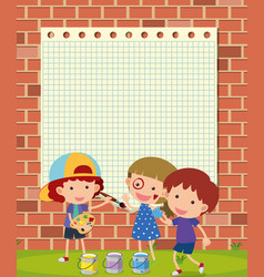 Border template with kids painting on wall vector