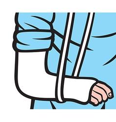 Broken arm in a cast vector image