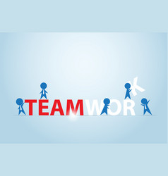 businessmen assembling the teamwork word vector image