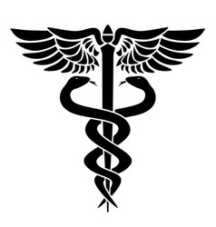 caduceus medical symbol with two snakes staff vector image