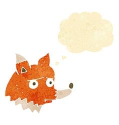 cartoon unhappy fox with thought bubble vector image