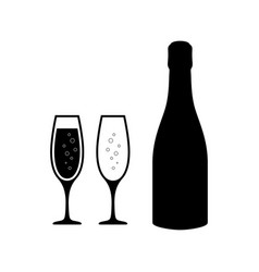 champagne glasses icons with champagne bottle vector image