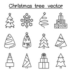 christmas tree icon set in thin line style vector image