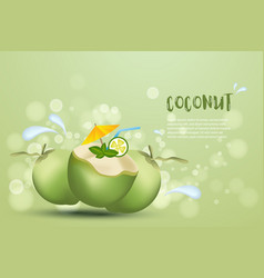 Coconut fruit summer fruit design with text vector